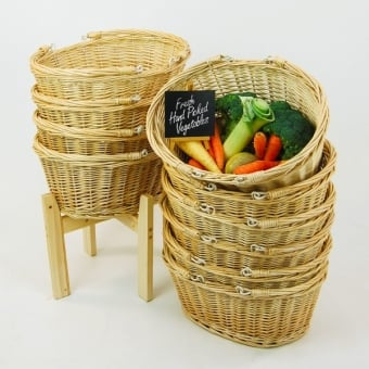 10 Wicker Shopping Baskets With Wooden Stand