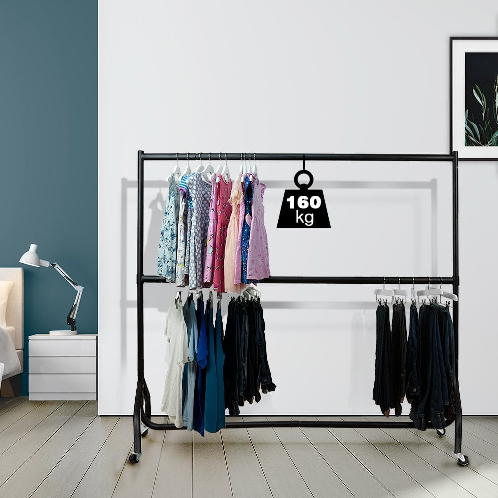 Heavy Duty 4ft Clothes Rail Garment Hanging Stand with 2 Tier Storage Shelves UK