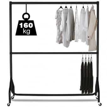 2 Tier 6ft Extendable Black Heavy Duty Clothes Rail