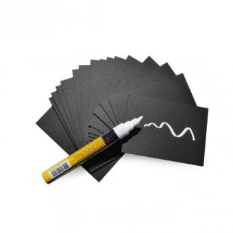 20 x A8 Price Tags & Chalkboard Cards With White Chalk Marker