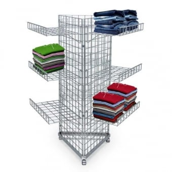3 Sided Mobile Gridwall Display Unit with 9 Shelves