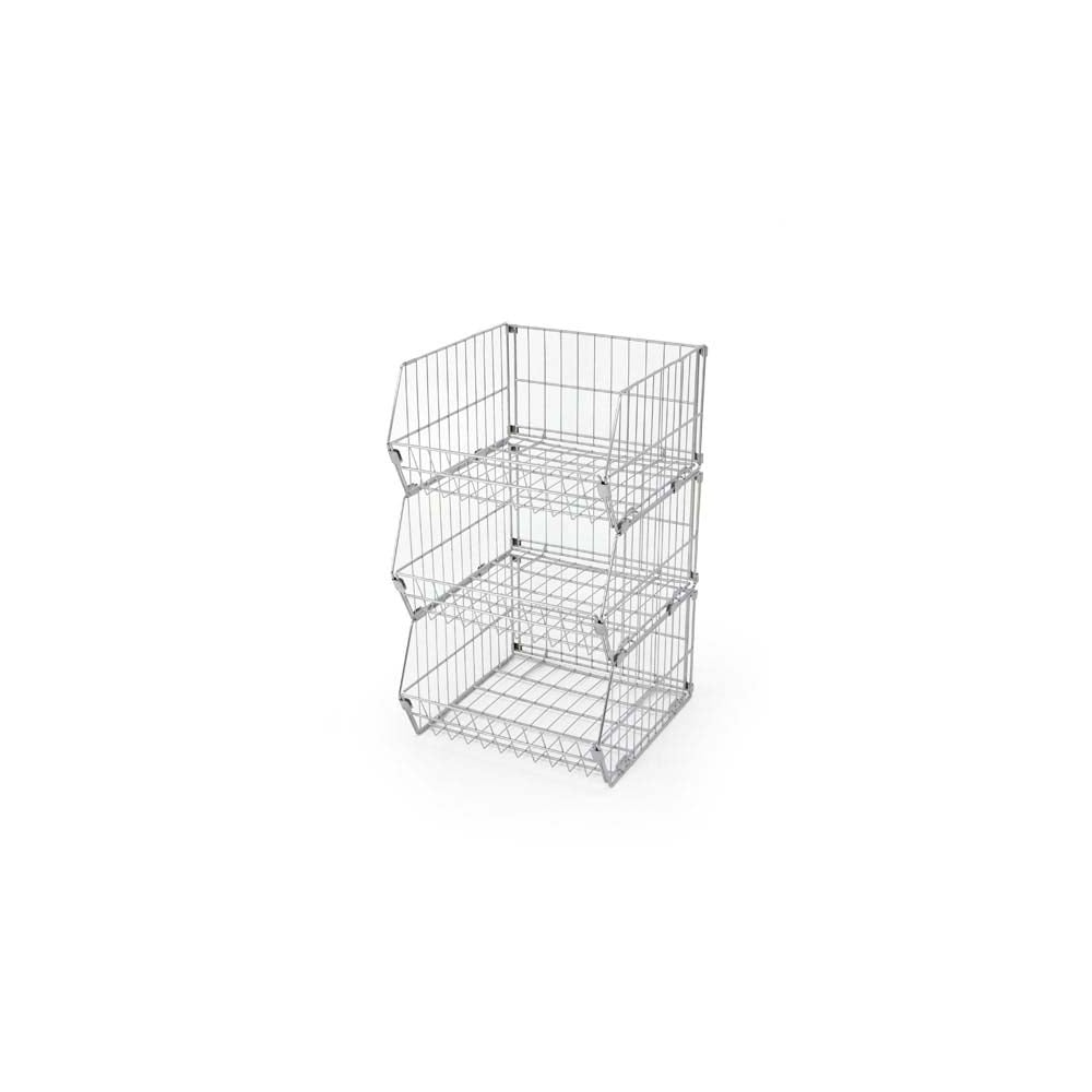 Collapsible Wire Basket | 3 Tier Collapsible Wire Stacking Basket Unit Displaysense