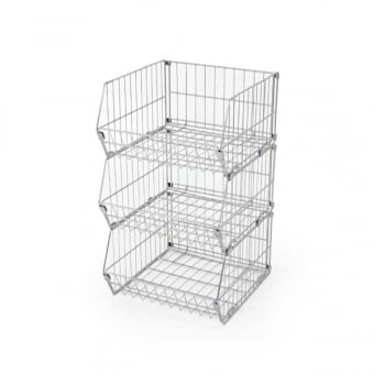 3 Tier Collapsible Wire Stacking Basket Unit