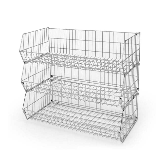 3 Tier Extra Wide Wire Stacking Basket Unit - 1000mm x 870mm
