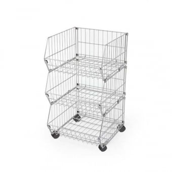3 Tier Mobile Wire Stacking Basket Unit - 600mm x 980mm