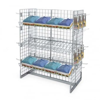 4 Sided Gridwall Gondola Display - Shelves and Double Prong Hooks