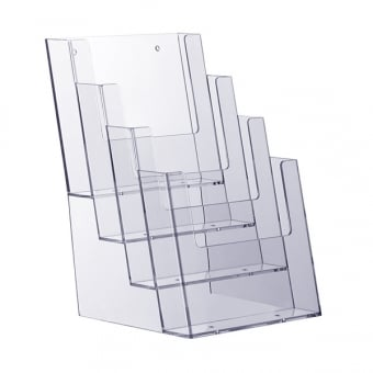 4 Tier A4 Portrait Brochure Holder - Counter Standing
