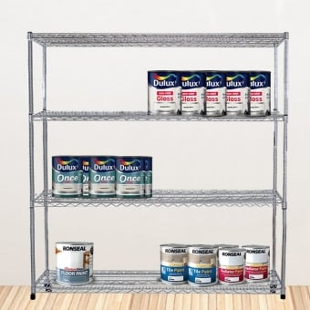 4 Tier Chrome Wire Heavy Duty Shelving - 1500mm x 1500mm