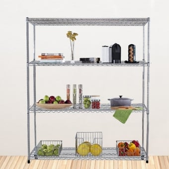 4 Tier Chrome Wire Heavy Duty Shelving - 1500mm x 900mm