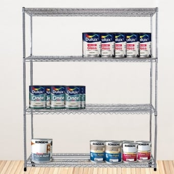 4 Tier Chrome Wire Heavy Duty Shelving - 2180mm x 1200mm