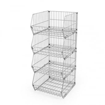 4 Tier Collapsible Wire Stacking Basket Unit