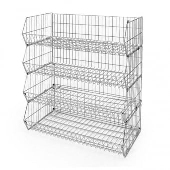 4 Tier Extra Wide Wire Stacking Basket Unit - 1000mm x 1160mm