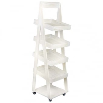 4 Tier Mobile Rustic Display Stand - White Distressed Wood Finish