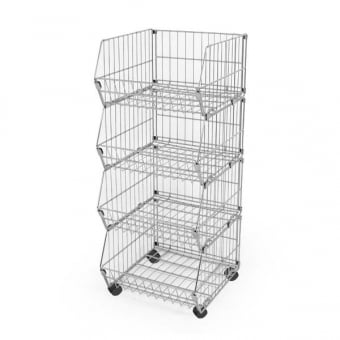 4 Tier Mobile Wire Basket Stacking Unit - 600mm x 1100mm