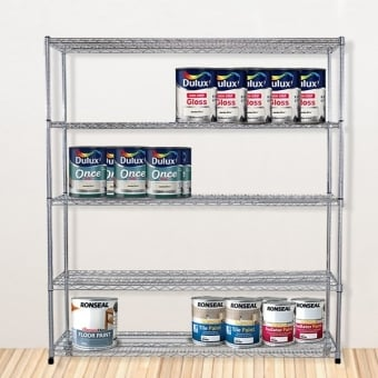 5 Tier Chrome Wire Heavy Duty Shelving - 1500mm x 1200mm