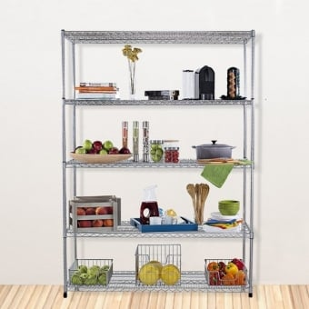 5 Tier Chrome Wire Heavy Duty Shelving - 1500mm x 600mm