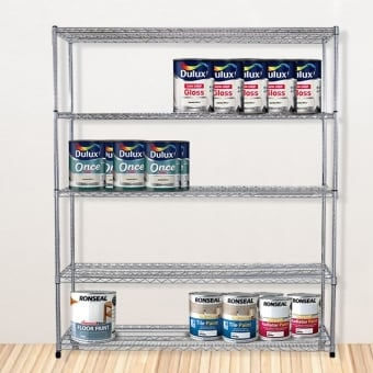 5 Tier Chrome Wire Heavy Duty Shelving - 1800mm x 1200mm