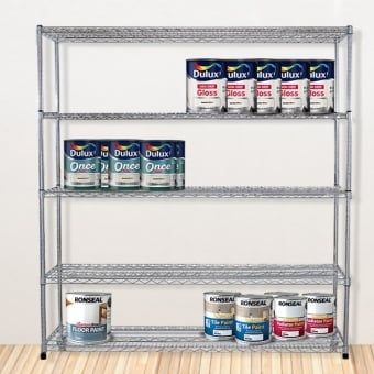 5 Tier Chrome Wire Heavy Duty Shelving - 1800mm x 1500mm