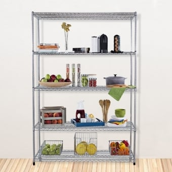 5 Tier Chrome Wire Heavy Duty Shelving - 1800mm x 600mm