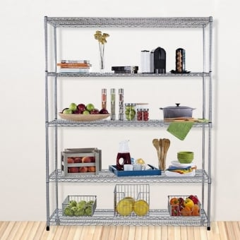 5 Tier Chrome Wire Heavy Duty Shelving - 1800mm x 900mm