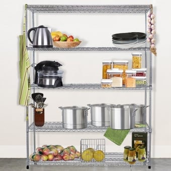 5 Tier Hygienic Chrome Wire Heavy Duty Shelving - 1200mm