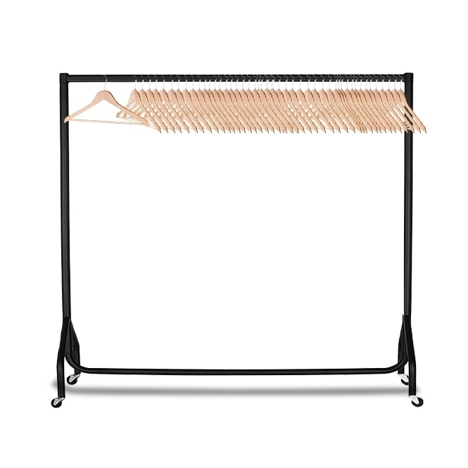 6ft Heavy Duty Clothes Rail With 50 Wood Hangers