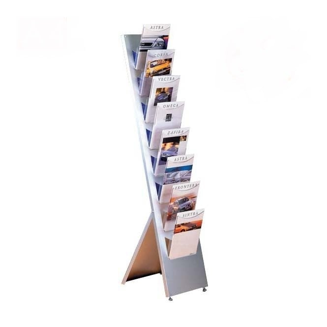 8 Pocket A4 Angled Brochure Stand - Floor Standing