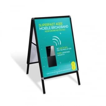 A1 A-Board Pavement Sign Poster Display - Black