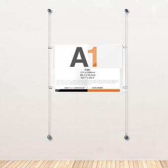 A1 Wall Mounted Acrylic Poster Cable Kit - Landscape