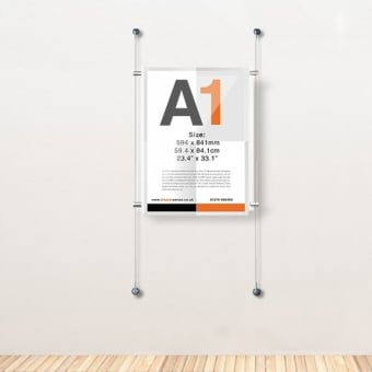 A1 Wall Mounted Acrylic Poster Cable Kit - Portrait