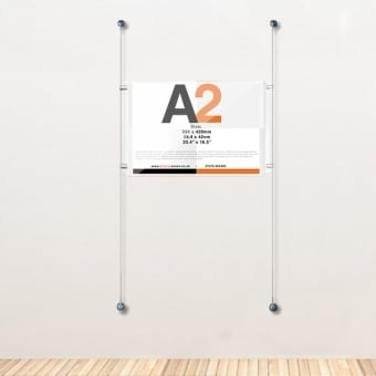 A2 Wall Mounted Acrylic Poster Cable Kit - Landscape