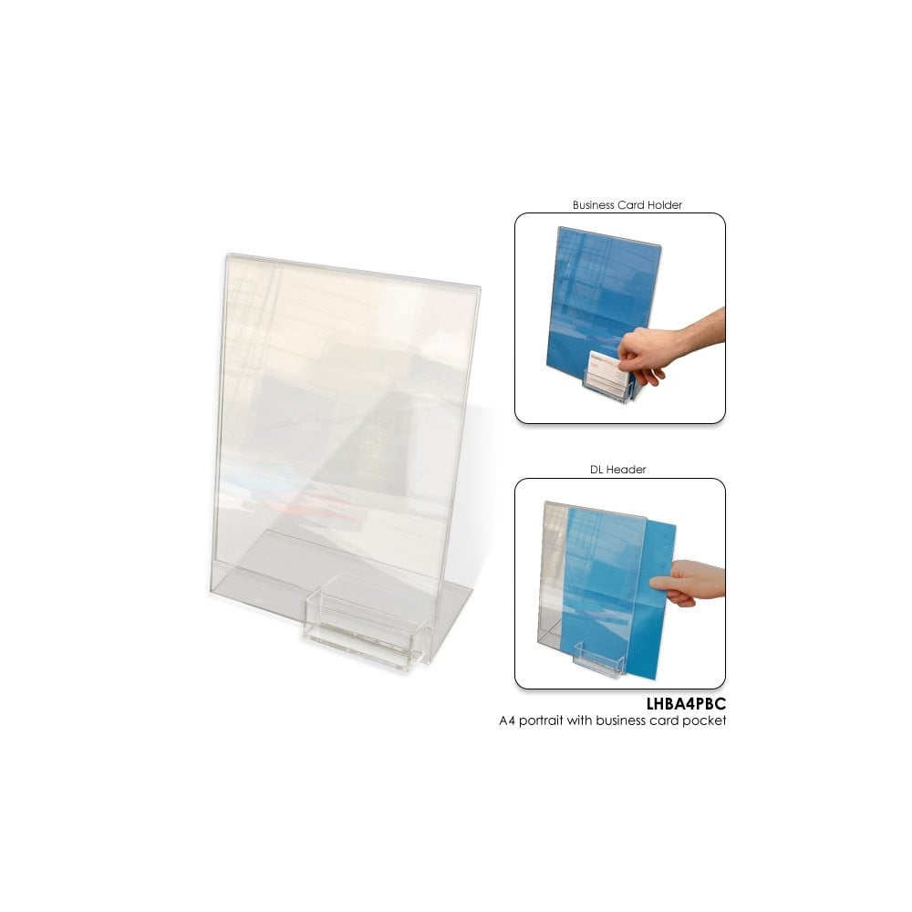 Acrylic A4 Literature Holder with Business Card Pocket - Portrait ...