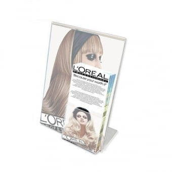 Acrylic A4 Literature Holder with DL Leaflet Pocket - Portrait