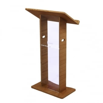 Acrylic and Wooden Lectern - Oak Finish - Assembled
