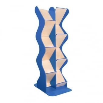 Blue Double Sided Wooden A4 Brochure Dispenser