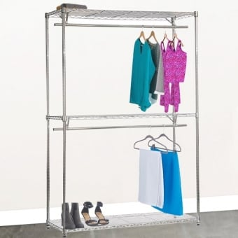 Chrome Wire Shelving with 2 Tier Clothes Rail & 3 Shelves - 1500mm
