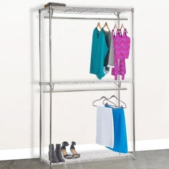 Chrome Wire Shelving with 2 Tier Clothes Rail and 3 Shelves - 900mm
