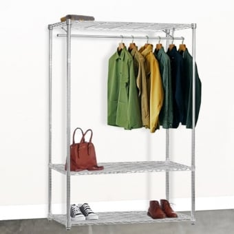 Chrome Wire Shelving with Clothes Rail & 3 Shelves - 1500mm