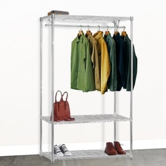 Chrome Wire Shelving with Single Clothes Rail and 3 Shelves - 900mm