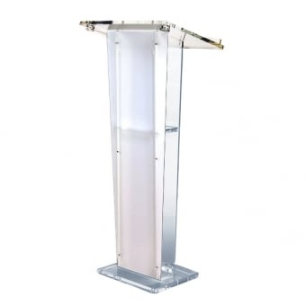 Clear Acrylic Lectern With Tapered Satin Finish Front Panel
