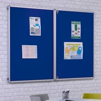 Fire Retardant Tamperproof Dark Blue Felt Noticeboard - 1800mm