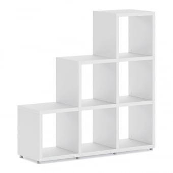 Heavy Duty White Stepped Cube Shelving Unit - 3 x 3