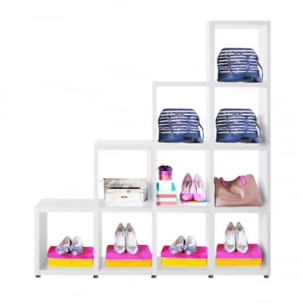 Heavy Duty White Stepped Cube Shelving Unit - 4 x 4
