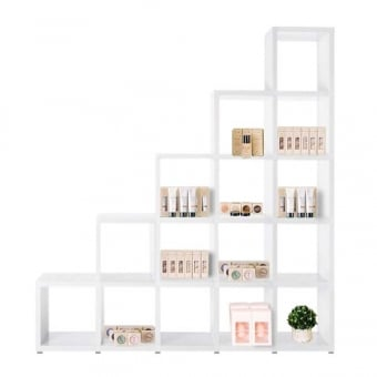 Heavy Duty White Stepped Cube Shelving Unit - 5 x 5