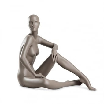 Aubergine Grey Coy Female Mannequin - Sitting Down Pose