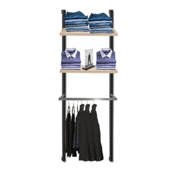 Hoxton Light Oak Effect Wall Mounted Shelving System with Chrome D-Rail