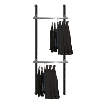 Hoxton Wall Mounted Merchandising System with 2 Chrome D-Rails