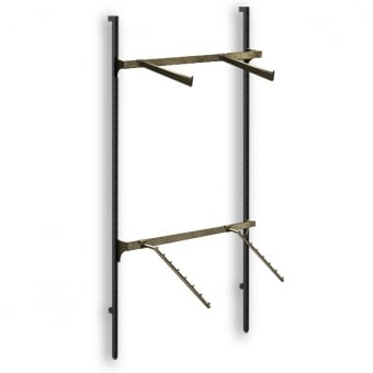 Hoxton Wall Mounted Merchandising System with Brass Straight & Ball Arms