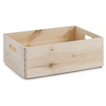 Medium Pine Stackable Storage Box with Handles