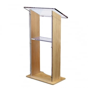 Oak Wood Lectern with Clear Acrylic Panels